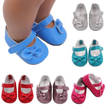 High Quality 7cm Doll Shoes for 43cm Height Girl 10 Colors With Bow Baby Christmas Gift Accessories