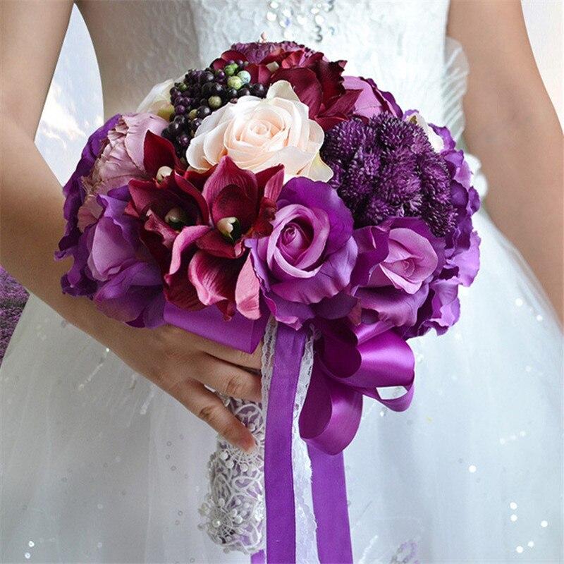 1PC violet mariage marié mariée soie pivoine Rose tenant fleur fleurs artificielles Bouquet fête décoration Simulation fausse fleur
