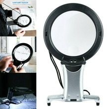 6X Large Magnifying Glass with LED Lamp Light Hands Free Reading Magnifier Light Led Lamp Giant Magnifier Reading Hands Free bijia 6x high end hand held reading magnifier black