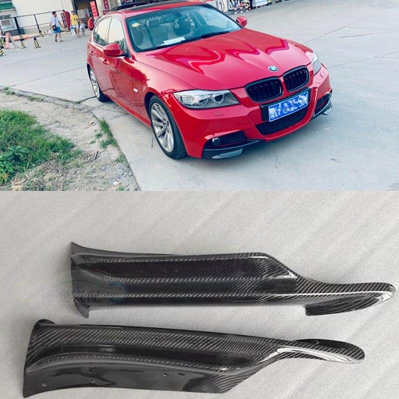 ด้านหน้ากันชนลิป Splitter สำหรับ BMW 325i 335i E90 LCI ซีดาน 4 ประตู 2009-2012 ผ้ากันเปื้อน Winglets Flaps สปอยเลอร์คาร์บอนไฟเบ...