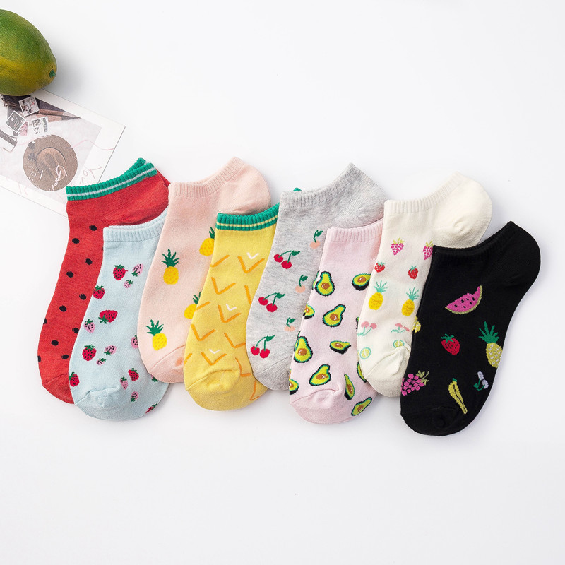 Women Socks Short Boat Socks Cartoon Watermelon Avocado Cute Funny Happy Warmth Socks All Cotton