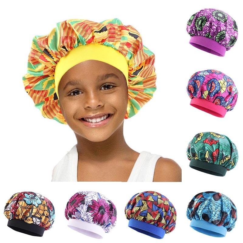 Детская шелковистая Атласная шапочка, шапка для сна, детский ночной тюрбан для девочек, детский однотонный головной убор, милая шапка, модна...