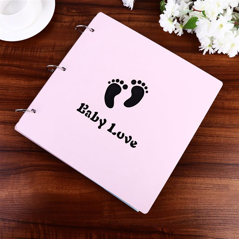 16 Inches Creative Footprinted Wooden Baby Photo Album DIY Baby Growing Up Souvenir Albums Pink Children'S Souvenirs