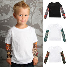 Children's T-Shirt Toddler Autumn Winter 2019 Baby Kids Boys Cute Parchwork T-Shirt Mesh Tattoo Printed Tops Camiseta infatil(China)