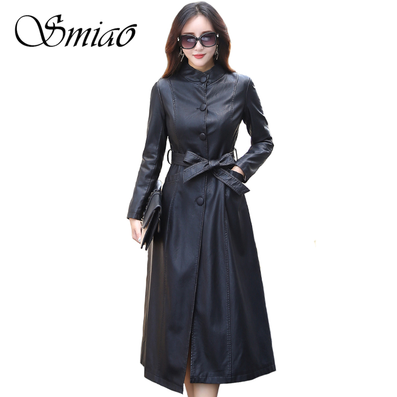 Smiao 2018 Fashion X-Long Single Breasted Autumn Female   Leather   Jacket Winter Plus Size Faux   Leather   Coat Female Windbreaker 5XL