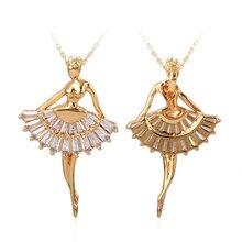 Breloque danse ballerine danseuse Ballet danse pendentif Collier pour femmes bijoux Gros Collier cristaux amour Collier