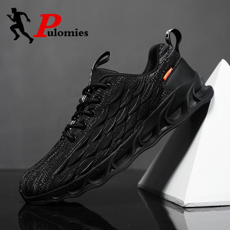PULOMIES 2020 Men Casual Shoes Springblade Shoes Men Running Sports Shoes Lace-up Scale Sneakers Men Chunky Platform Sneakers