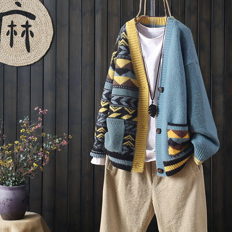 2021 autumn and winter matching large pockets long sleeve buttoned outer knit cardigan women loose literary V neck sweater
