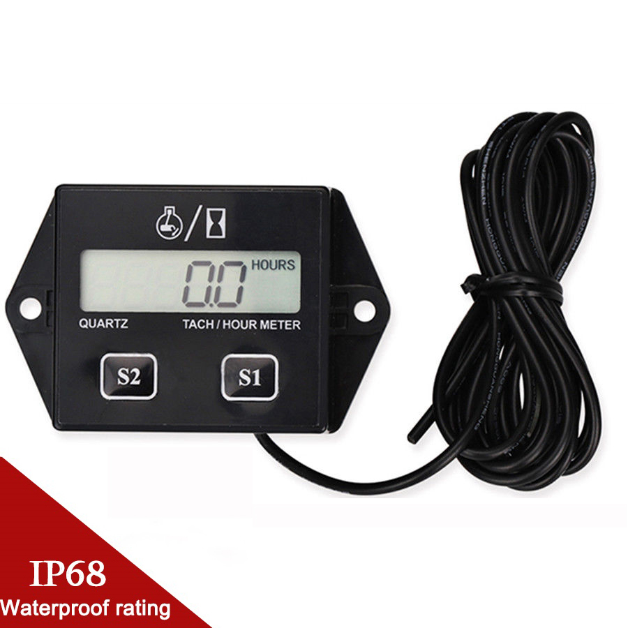 Motorcycle LCD Digital Display Engine Tach Hour Meter Motorbike Tachometer Gauge Marine Chainsaw Pit Bike Boat Engine Inductive in Instruments from Automobiles Motorcycles