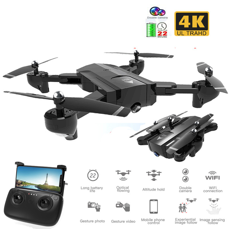 Best Foldable Profissional Drone with Dual Camera 720P 4K Selfie WiFi FPV Wide Angle Optical Flow RC Quadcopter Helicopte