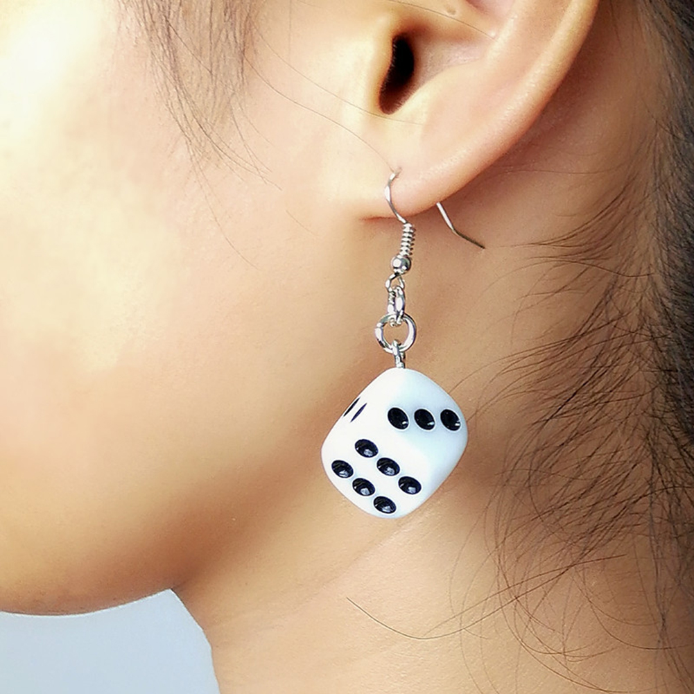 Funny Acrylic 3D Dice Pendant Earrings Dangle Necklace Cool Punk Drop Earring Tassel Casino Women Men Jewelry Personality Fun