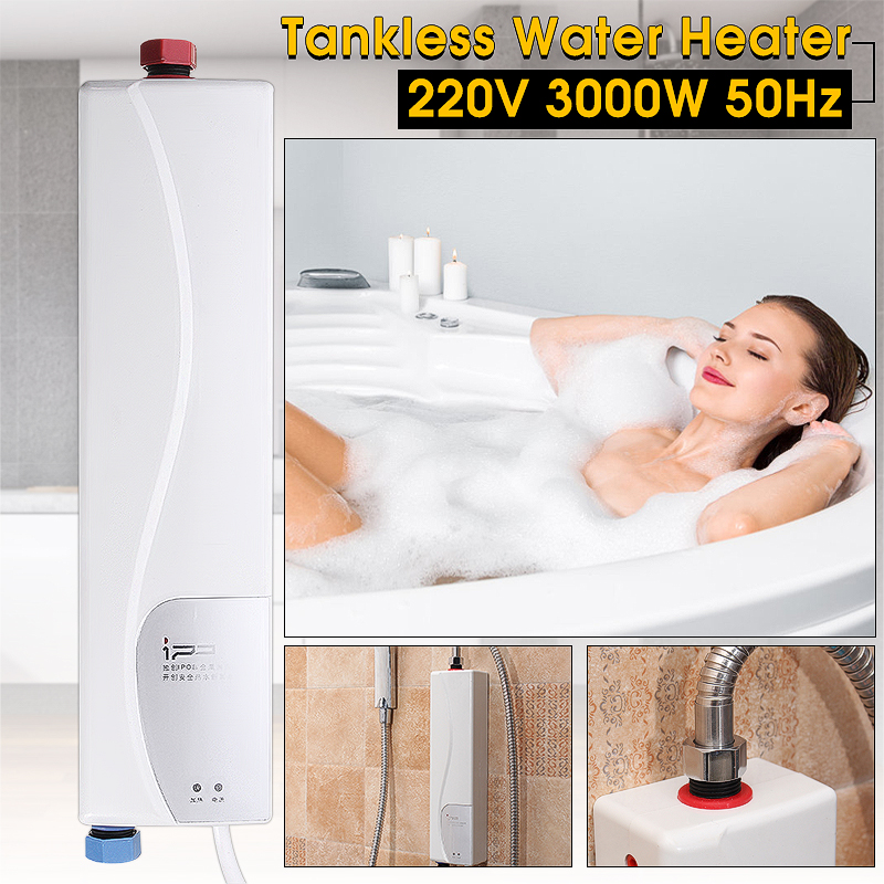 1Pcs AU Plug 220V 3000W Instant Electric Water Heater Indoor Bathroom Supplies Household Practical Double Shell Water Heating
