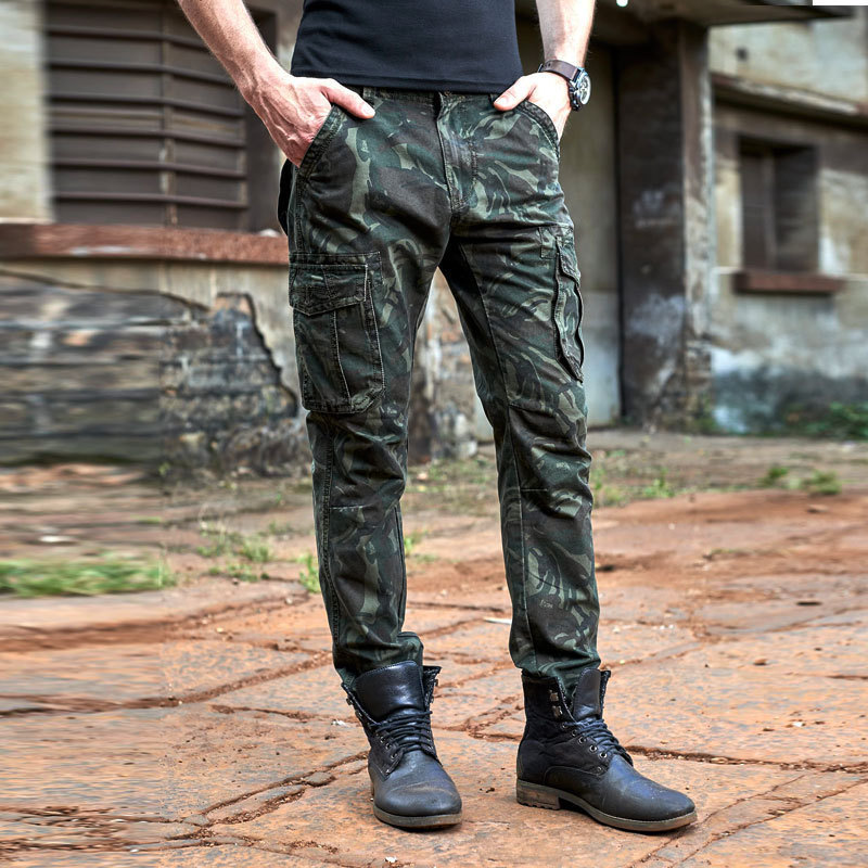 2019 Spring And Autumn Camouflage Bags Trousers Military Bib Overall Men's Pure Cotton Straight-Cut Loose Harem Pants Large Size
