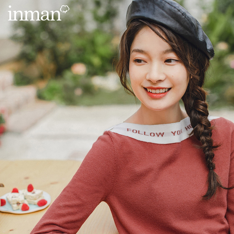 INMAN 2020 Spring New Arrival Literary Flat Shoulder Letter Contrast Color Long Sleeve Knitwear