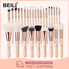 BEILI Pink Makeup Brushes High Quality Powder Foundation Blush Eyeshadow Make Up Brush Set Natural Hair brochas maquillaje
