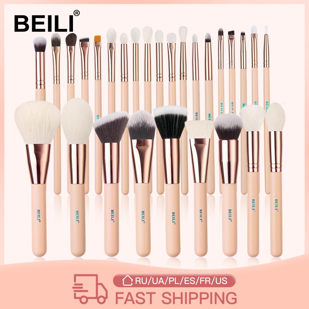 BEILI Pink Makeup Brushes High Quality Powder Foundation Blush Eyeshadow Make Up Brush Set  Natural Hair  brochas maquillaje