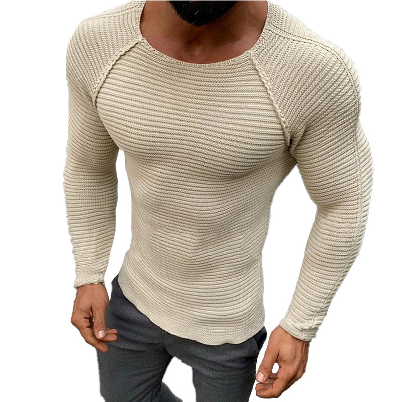 Autumn Warm Men Sweater Fashion Solid Long Sleeve Winter Pullover Causal O-Neck Tops Vintage Striped Slim Fit Knit Sweater Male