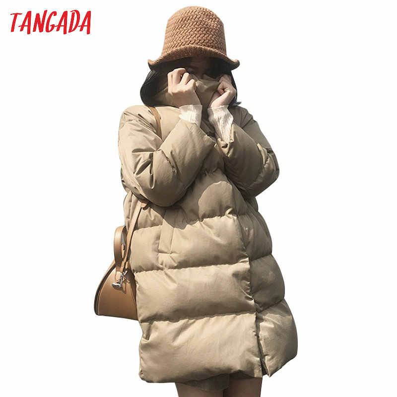 Tangada Women Solid Oversize Long Parkas Thick 2019 Long Sleeve Buttons Pockets Female Warm Winter Coat Korean Fashion ATC02