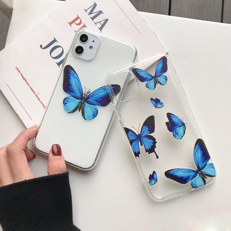 Case For Iohone 8 Cover Butterfly Transparent For Iphone 11 Pro Max 11Pro XR XS Max 8 7 7 Plus 6 6S 5 5S SE Cases Thin Coque(China)