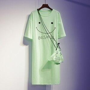 L-4XL размера плюс женская длинная футболка платье Лето 2020 Милая мультяшная улыбка принт короткий рукав Свободные повседневные Хлопковые Пла...