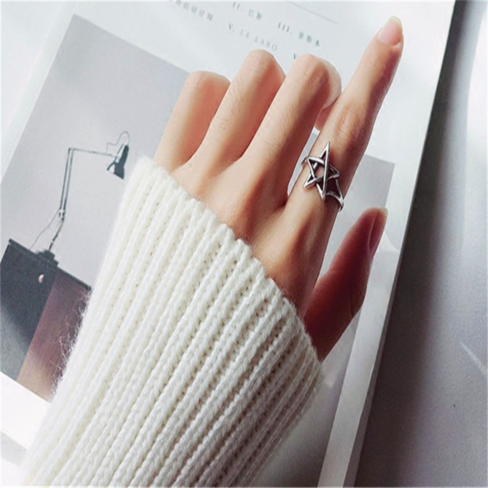 FFLACELL Female Punk Vintage Rings Hollow Interweaving Star Thai Silver Rings For Women Fashion Jewelry