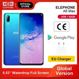 ELEPHONE A6 MAX 4GB 64GB Smartphone 6.53'' Screen MT6762V 20MP Front Camera Face Fingerprint Unlock Mobile Phones Android 9.0