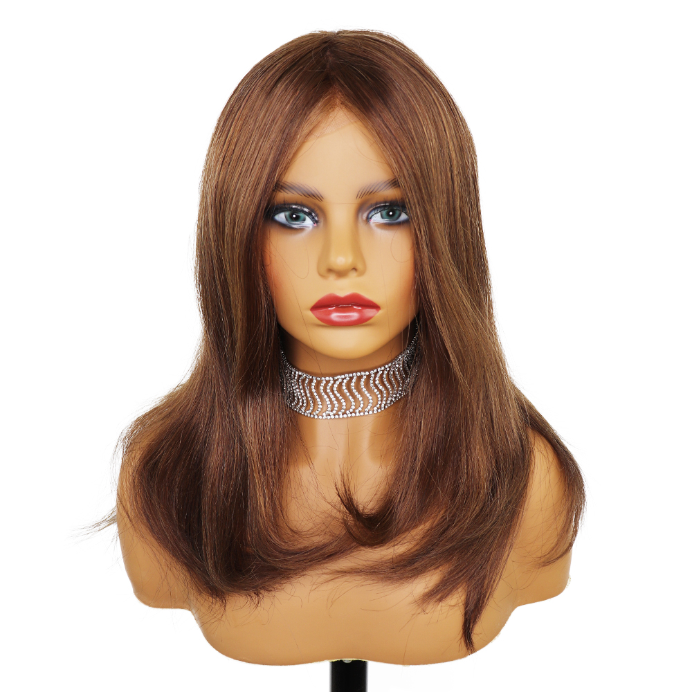 YY Wigs #4 Brown Jewish Wig For Women Brazilian Remy Human Hair Wig Full PU Silk Base Wigs 16 Inch Body Wave 150% Density