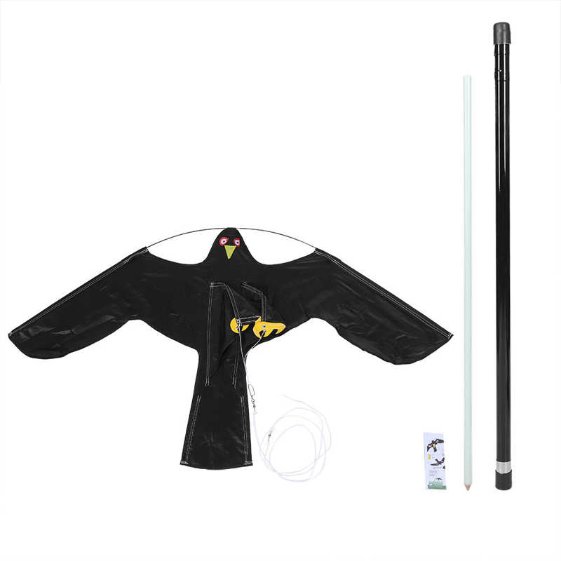 Extendable Bird Repeller Scarer Flying Hawk Kite with 5m&7m Telescopic Pole for Garden Scarecrow Yard Home-0