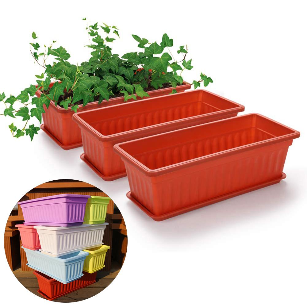3Pcs Balcony Garden Rectangular Vegetable Flower Planter Resin Box Planting Pot
