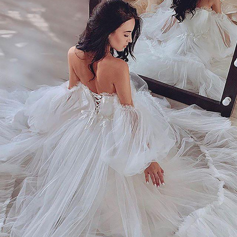 Puff Long Sleeves Princess Wedding Dresses Off Shoulder Pleated Ruched Tulle Corset Back A Line Bridal Gowns Vestido De Noiva