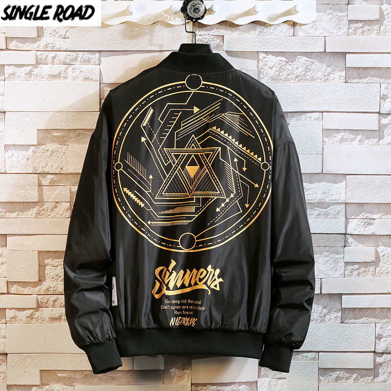 SingleRoad Mens Cotton Jacket Men 2020 Winter Windbreaker Harajuku Hip Hop Bomber Coat Japanese Streetwear Black Jackets For Men