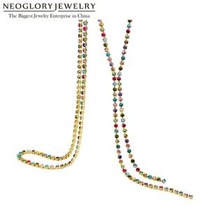 Image 1 - Neoglory Austrain Crystal Colorful Long Chain Beads Tassel Necklaces for Women Girl Fashion Jewelry Gifts 2020 Colf