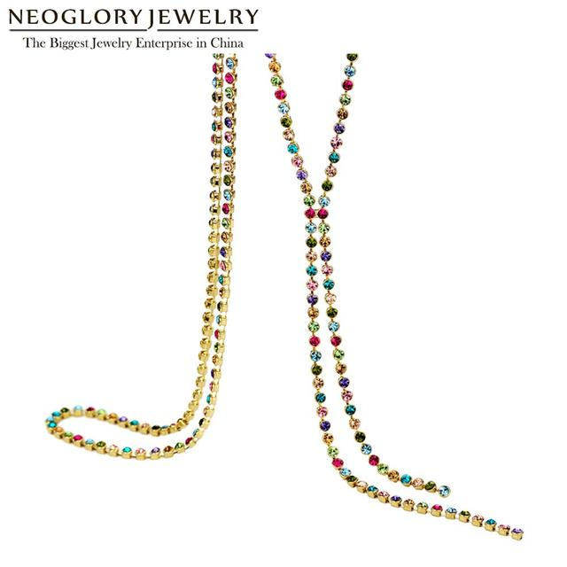 Neoglory Austrain Crystal Colorful Long Chain Beads Tassel Necklaces for Women Girl Fashion Jewelry Gifts 2020 Colf