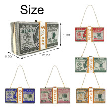 Dollar Cash Bag Rhinestone Money Shoulder Bag Bill Diamond Clutch Purse Funny Party Handbag Women Novelty Shinnie Shoulderbag