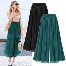 Oversized Summer Woman Pants Pleated Chiffon Wide L