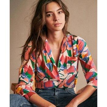 Женская рубашка с цветочным принтом, летняя и осенняя Элегантная туника с длинным рукавом на пуговицах, винтажная Свободная блузка с принто