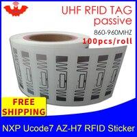 UHF znacznik RFID EPC 6C naklejka NXP Ucode7 AZ H7 mokra wkładka 915mhz868mhz860 960MHZ 100 sztuk darmowa wysyłka samoprzylepna pasywna etykieta RFID w Etykiety i karty RFID od Bezpieczeństwo i ochrona na