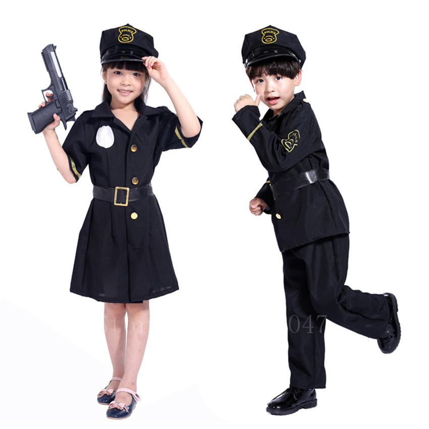 Children Halloween Policeman Cosplay Costume Fancy Boys Girls Masquerade Carnival Army Suit Military Police Uniform Clothing Set