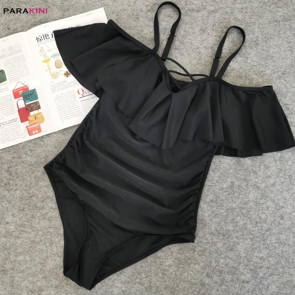 PARAKINI Strap Cold Shoulder Swim Suits Black Ruffle Overlay One Piece Swimwear 2020 New Plus Size Swimwear Women Bathing Suit 4