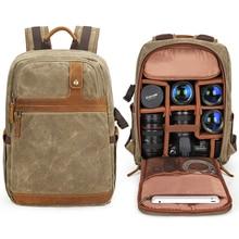 Camera Waterproof Retro Batik Canvas DSLR Shoulders Backpack Men Women Travel Outdoor Stylish Video Tripod Carrying Case Bags