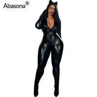 Abasona Autumn Women Winter Long Sleeve Pu Faux Leather Skinny Rompers Womens Jumpsuit Long Pants Overalls Party Night Club