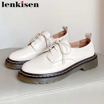 Lenkisen handmade casual shoes women full grain leather round toe med heel preppy style young lady daily wear lace up pumps L05