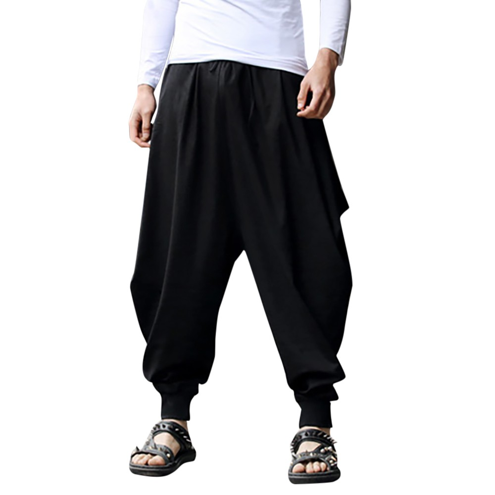 KANCOOLD Trousers Pants Pocket Linen Cotton Mens Casual Summer Male Calf-Length Solid title=