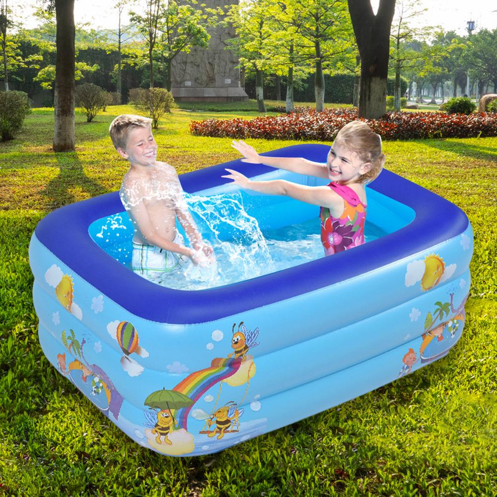 130cm Inflatable Pool Children Bathing Tub Baby Home Use Paddling Pool Inflatable Square Swimming Pool