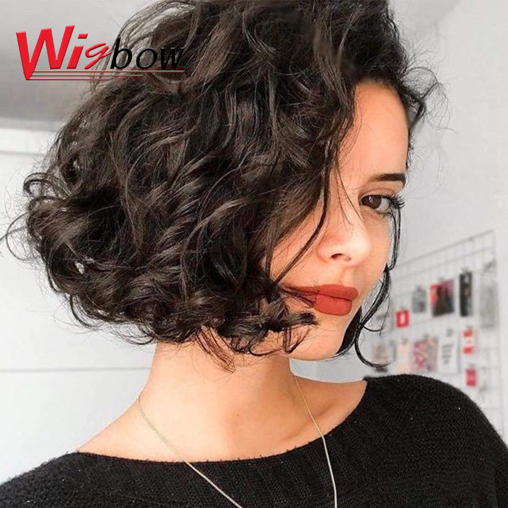 Water Wave Human Hair Wig For Black Women 150 Density Lace Ombre Colored Water Wave Wig Brazilian Hair Pixie Cut Wig Free Ship