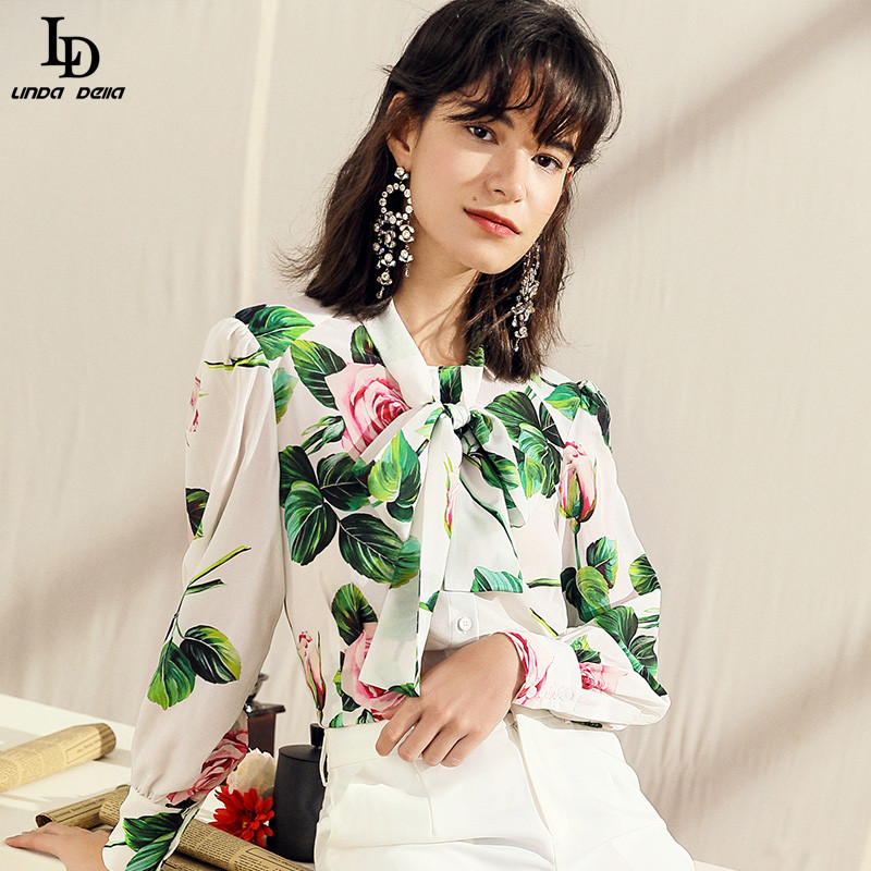 LD LINDA DELLA Summer Fashion Silk Shirt Women's Long Sleeve Bow Collar Elegant White Rose Flowers Floral Print Blouse Top