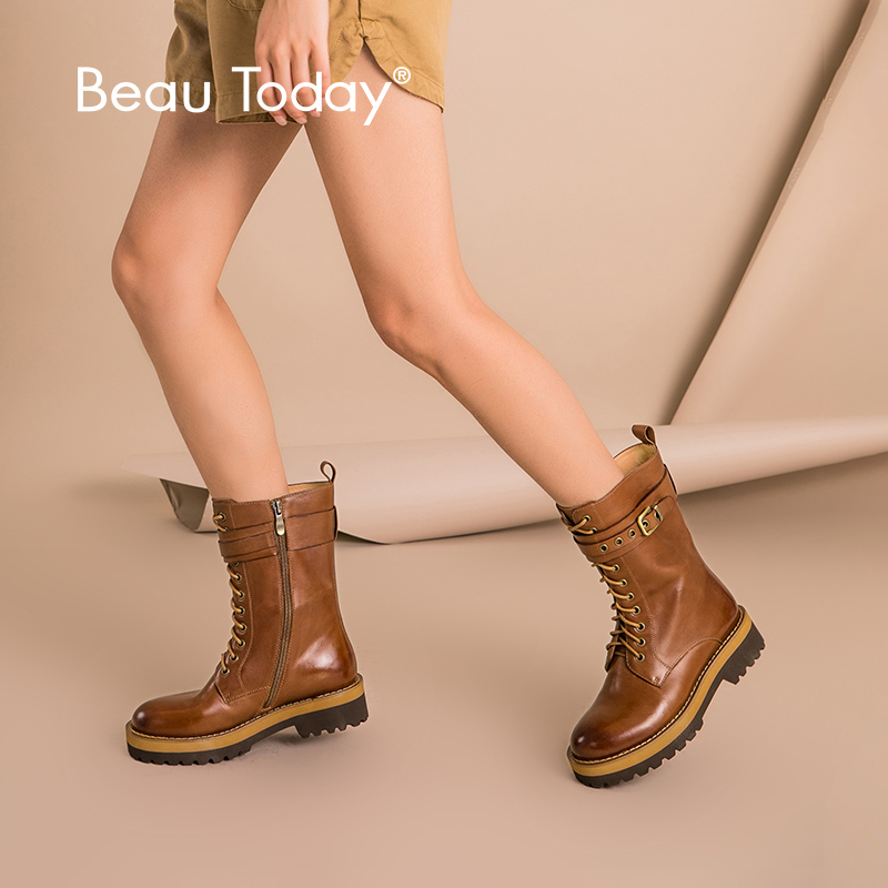 BeauToday Women Boots Mid Calf Genuine Cow Leather Round Toe Brand Buckle Lace Up Zipper Platform Shoes Top Quality 02301-in Mid-Calf Boots from Shoes    1