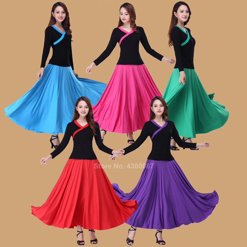 Woman Flamenco Festival Dance Costumes Female Belly Stage Performance Skirt 5Colors Solid Flamengo Ballet Ballroom Costumes