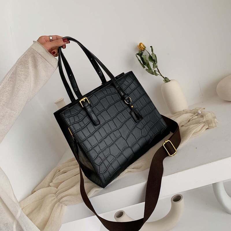 Fashion Crocodile Women's Handbag Retro Pu Crossbody Bags Large Capacity Ladies Briefcase Totes Bag For Women Clutch Purse 2020