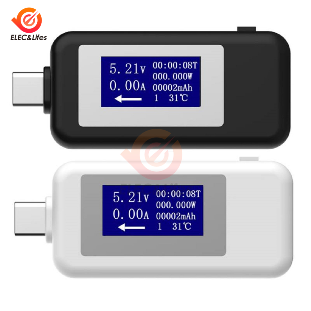 5V 9V 12V 24V 30V USB Tester Type C LCD Digital Current Voltage Charger Capacity Tester USB Charger Doctor Power Meter Voltmeter